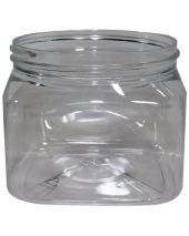 Plastic Jar 16 Oz Clear Square