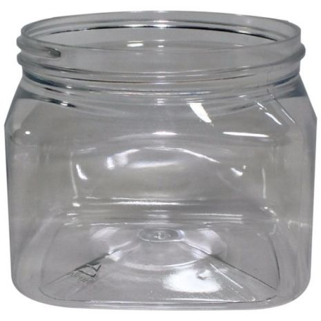 Plastic Jar 16 Oz Clear Square