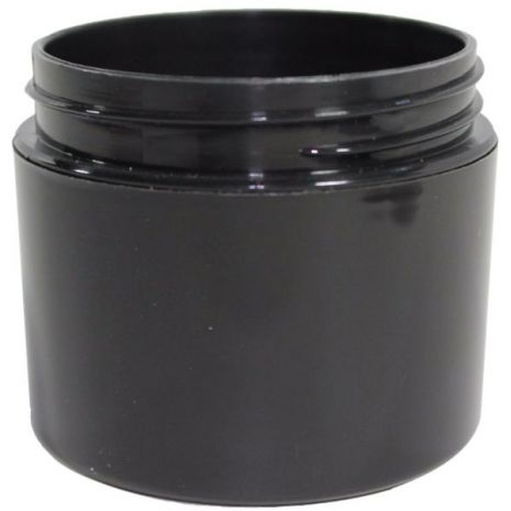 Plastic Jar 2 Oz Black Round