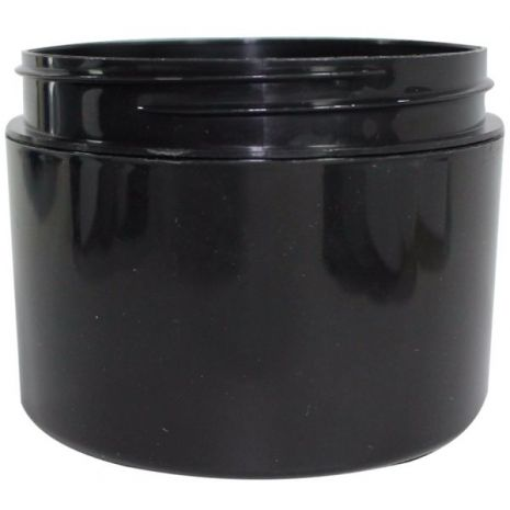 Plastic Jar 8 Oz Black Round
