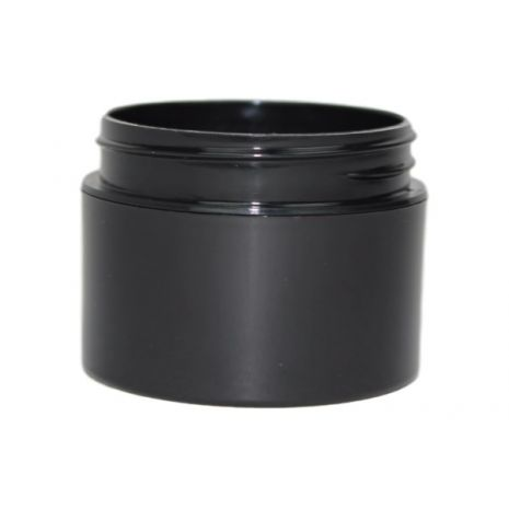 Plastic Jar 1 Oz Black Round